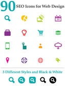90 Seo Icons for Web Design — Stock Vector