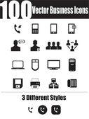 100-vektor-icons in business — Stockvektor