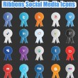 Ribbons Social Media Icons  — Stock vektor