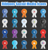 ソーシャル メディアのアイコンをリボンします。 — ストックベクタ