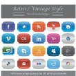 Retro and Vintage Style Social Media Badges - Stock Vector
