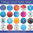 Vintage Social Media Badges - Stock Vector