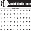 60 Social Media Icons Simple Version — Stock Vector