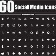 Stock Vector: 60 Social MediIcons White Version