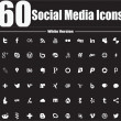 60 Social Media Icons White Version - Stock Vector