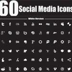 60 Social Media Icons White Version — Stock Vector