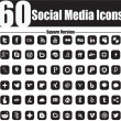 60 Social Media Icons Square Version — Stock Vector