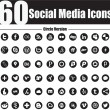 60 social media icons circle version — Stock Vector