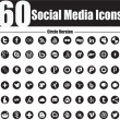 60 social media iconen cirkel versie — Stockvector
