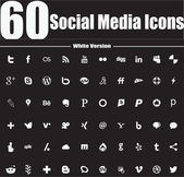60 Social Media Icons White Version — Stock Vector