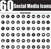 60 Social Media Icons Circle Version — Stock Vector