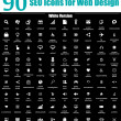 90 SEO Icons for Web Design - White Version — Stock Photo