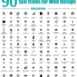 90 SEO Icons for Web Design - Black Version — Vector de stock