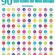 90 SEO Icons for Web Design - Circle Version — Stock Vector #22356067