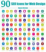 90 iconos de seo para diseño web - versión cuadrada — Vector de stock