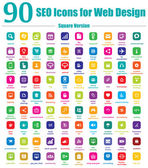 90 seo иконки для веб-дизайна - квадратной версии — Cтоковый вектор