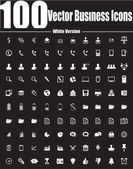 100 Vector Business Icons - White Version — Stock Vector