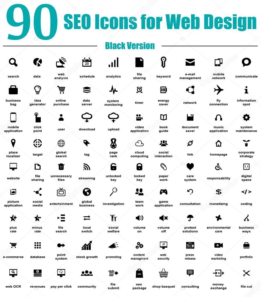 90 SEO Icons for Web Design - Black Version — Stock Vector ...