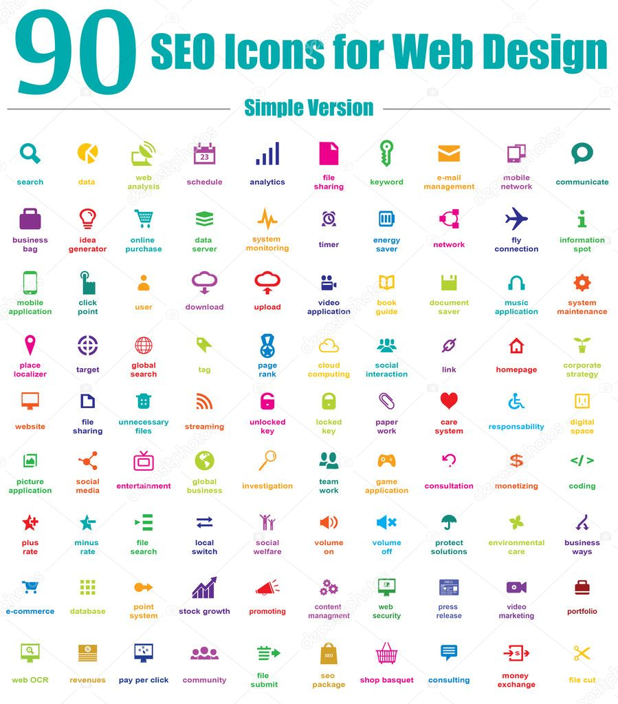 Cool colors web design - 90 Seo Icons For Web Design Simple Color Version Stock Illustration
