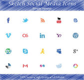 Sketch Social Media Badges - Simple version) — Stock Vector