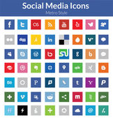 Social media icons (metro-stil) — Stockvektor