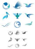 Abstract Bird Icons — Stock Vector