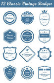 12 Classic Vintage Badges (Blue) — Stock Vector