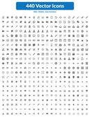 440 Vector Icons (Dark Set) — Stock Vector