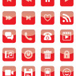 Mobile and Web Icons (Red Set) — Stock Vector