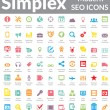 Постер, плакат: Simplex Modern SEO Icons Color Version
