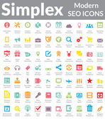 Simplex - Modern SEO Icons (Color Version) — Stock Vector