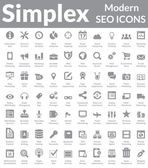 Simplex - Modern SEO Icons (Dark Version) — Vettoriale Stock