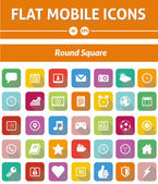 Flat Mobile Icons - Rounded Square Version — Vettoriale Stock