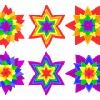 Rainbow kaleidoscope flowers — Stock Vector