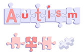 AUTISM title on Puzzle Pieces — Stock Vector