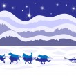 Musher and dog sled by moonlight vector — ストックベクタ