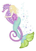 Mermaid riding seahorse — Stock Vector