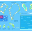 Tuvalu map and Flag — Stock Vector