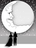 Moonlight stroll on Shipboard — Stock Vector