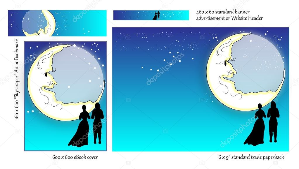 Romance Book Cover Stock Photos ~ 작가 대 한 로맨스 책 표지 디자인 — 스톡 벡터 and quarters