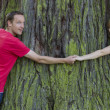 Couple holding hands and hugging large tree trunk — Stock Photo