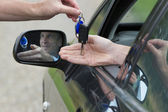 Man Receiving Car Key. — Stock Photo