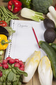 Book surrounded with vegetables — Stock Photo