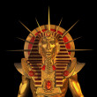 Ancient Egyptian Pharaoh Statue on Black - Stock Photo