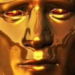 Golden Face with Piercing Gaze — Stock Photo
