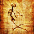 Skeleton Soaring Parchment — Stock Photo