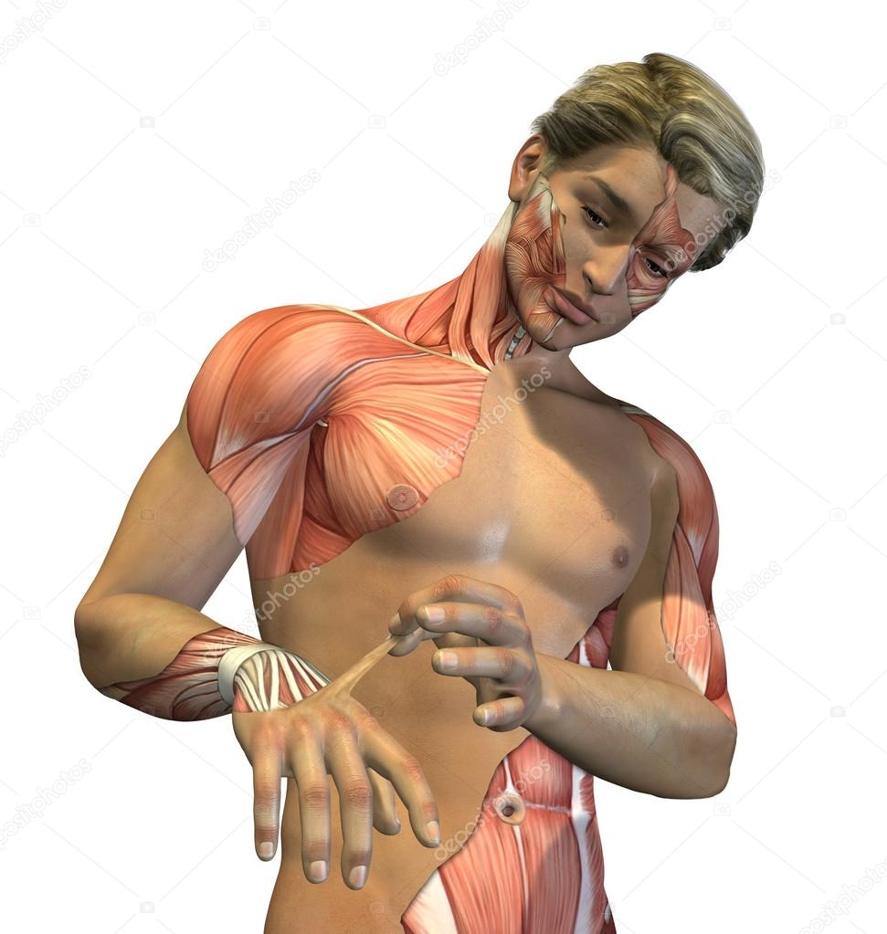 A young man peels away his skin to reveal the muscles underneath - 3D render with digital painting. — Stock Photo #14220301