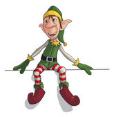 Christmas Elf Sitting on Edge — Stock Vector