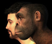 Modern Human and Homo Erectus Man Compared — Stock Photo