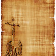 Crucifixion of Christ Parchment - Stock Photo